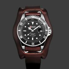 Military Royale Herren Armbanduhr Automatik Uhr Schwarz Zifferblatt Braun Band