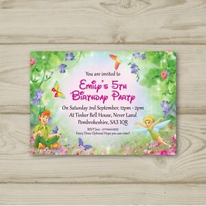 Tinkerbell Peter Pan Birthday Party Invitations Personalised