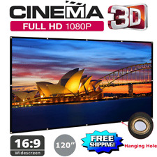 "120"" Portable Full 3D/HD Projector Screen 16:9 Hanging Home Cinema Movie Theater"