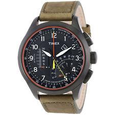 Timex Men's Iq T2P276 Khaki Leather Strap Analog Quartz Watch with Black Dial