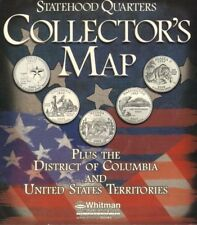 US State Quarter Collection Coin Map Display 50 States DC + Territories Colorful