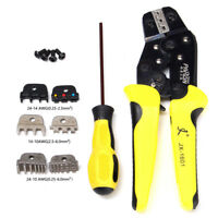 Cable Crimper Tool Kit Wire Terminal Ratchet Plier Crimping Set 4 Spare Dies UK