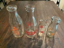 (4) Vintage Glass Milk Bottles Quarts, Pint and Half Pint-Connecticut Dairy's