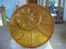 Indiana Glass Vtg Amber Round Devil Egg Divided Appetizer Serving Platter