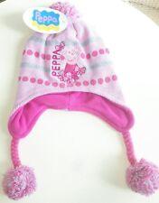 CAPPELLO PEPPA PIG CON PARAORECCHIE Bambina Bimba Femmina Hat Cap Neve Inverno