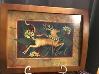 """Christmas Wood Tray With Cork Back With Reindeer And Noel On Front 17.5""""x13.75"""""""