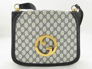 GUCCI VINTAGE INTERLOCKING GG NAVY PVC LEATHER SHOULDER BAG EY596