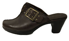Clarks Bendables Brown Leather Mules Clogs Heels Size 7 W Shoes Side Buckle