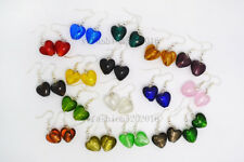 FREE wholesale lot 6Pairs Heart murano glass bead Silver Plated earrings