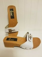 bijou shoes white wood sandals adjustable  width band 5.5