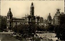 Valencia alte Postkarte 1960 datiert Plaza del Caudillo Rathaus Straßenbahn Tram