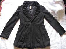 Black wool shawl collar bubble hem belted coat S-Twelve Small classy gothic