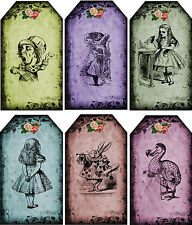Vintage inspired Alice in Wonderland cards color grunge altered art 6 envelopes