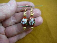 white flower Cloisonne dangle oval Earrings (Ee603-16) 12x18mm Red bead w/ pink