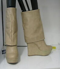 """NUDE  5.5""""high wedge heel 1.5 platform round toe sexy mid-calf boots size  5.5"""
