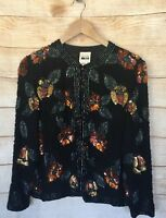 Leslie Fay Evenings Womens Small Intricately Beaded Black Evening Jacket