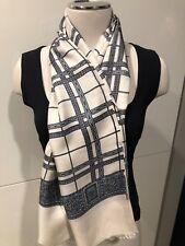 100% Silk Twill White,Black,Grey Combo Long Unisex Scarf 60cmx 125cm