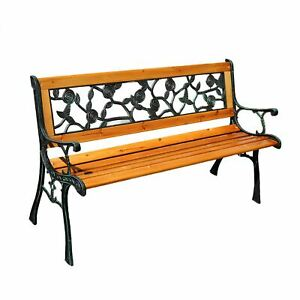 Wooden Garden Furniture 2 Seater Bench with Rose Effect Design Cast Iron Legs