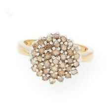 9Carat Yellow Gold 1.00ct Champagne Diamond Cluster Ring (Size N) 13mm Diameter