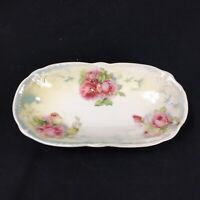 "Germany Transferware Oval Dish Pink Roses Floral Raised Dots Vintage 7.5"" x 4"""