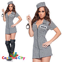 Womens Ladies Miss Behaved Sexy Criminal Prisoner Fancy Dress Hen Party Costume