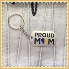 Lot of 2 Proud Mom Down Syndrome Awareness Dog Tag Style Keychains ~ Great Gift