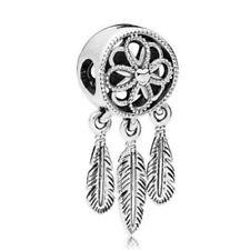 Fashion feather 1pcs Silver Pendant Charm Bead Fit 925 Bracelet Necklace Chain