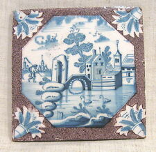 "Antique 18th Century 5"" Delft Tile with Swans and Bridge"