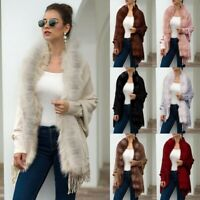 Women Winter Knitted Cashmere Capes Shawl Cardigans Sweater Coat Jacket Outwear