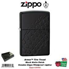 Zippo Armor Tire Tread Lighter, Black Matte, Deep Carve Design #28966