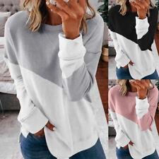 Damen Sweatshirt Farbblock Bluse Hemd Langarmshirt Freizeit Tunika Basic Tops DE