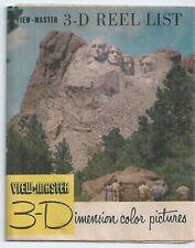 View-master Reel List Revised September 1954 Mount Rushmore on Cover Brochure
