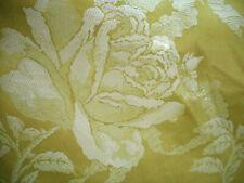 Vintage Lg Roses Ribbon Satin Jacquard Damask Fabric ~ Citron Chartreuse Yellow