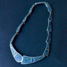 *Vintage SUPERB Taxco Mexican Crushed Turquoise Sterling Silver Necklace 54g