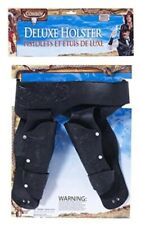 Western Double Holster Black Faux Leather Embossed Print Costume Cowboy Holster