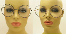 Huge Round Big Large Metal Clear Lens Jade Harley Cosplay Glasses Gold and Black