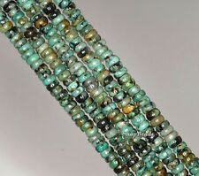 AFRICAN TURQUOISE GEMSTONE GREEN RONDELLE DONUT 4X2MM LOOSE BEADS 16""