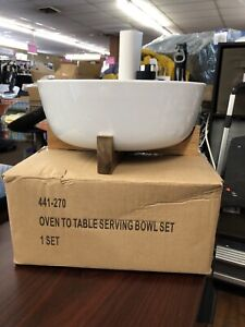 Crate And Barrel White Oven To Table Serving Bowl Set NIB
