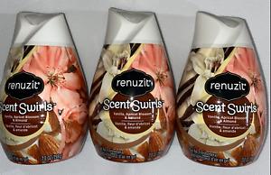 3 Renuzit Scent Swirls Vanilla Apricot Blossom & Almond Gel Air Freshener 7 OZ