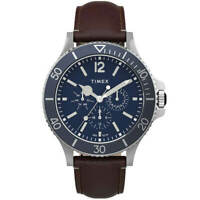 Timex Men's Watch Harborside Quartz Blue Dial Leather Strap TW2U13000VQ