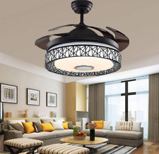 """New Listing42"""" Modern Invisible Ceiling Fans Remote Led Light Bluetooth Music Chandeliers"""