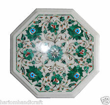 """12"""" White Marble Coffee Table Top Malachite Marquetry Gems Arts Patio Decor H005"""