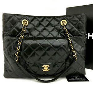 Unused CHANEL Quilted CC Logo Leather Chain Shoulder Tote Bag Black /90616