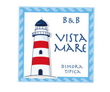 Targa mattonella insegna in ceramica decorata cm. 20x20 per B&B, Casa vacanza