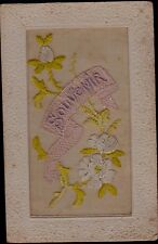 CARTE POSTALE ANCIENNE BRODEE - 1919 FLEURS D'AUBEPINE-SOUVENIR-RUBAN SOIE