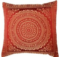 "Red Indian Ethnic Mandala Silk Brocade Cushion Covers Handmade 15"" Zip Back"