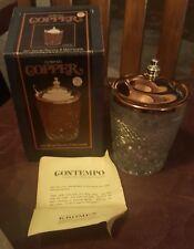 Kromex Vintage Glass Condiment Server Jam Jelly Jar w/Copper Lid Nib