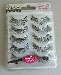 2X Andrea 45 False Eyelashes Strip 5 of a Kind Black - 1 Pack W/ Applicator NEW