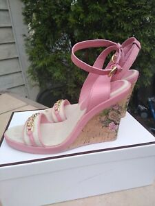 COACH Ellette US 7.5M Gold Pink Leather Cork Platform Wedge Ankle Strap Shoes