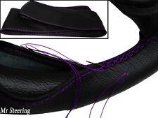 100% Cuero Negro Real Cubierta del volante Puntada Púrpura Para Honda Jazz 04-12